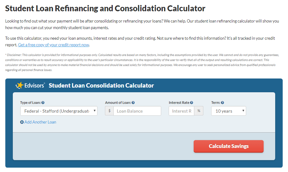 edvisors-refinance-consolidation-calculator